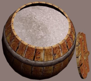 An actual barrel full of salt.